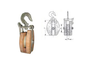Wood snatch block with swivelling hook