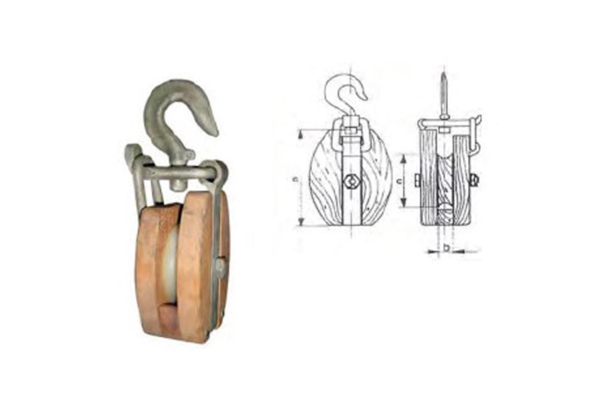 Pasteca de madera con gancho giratorio-2