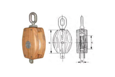 Wood pulley with swivelling eye