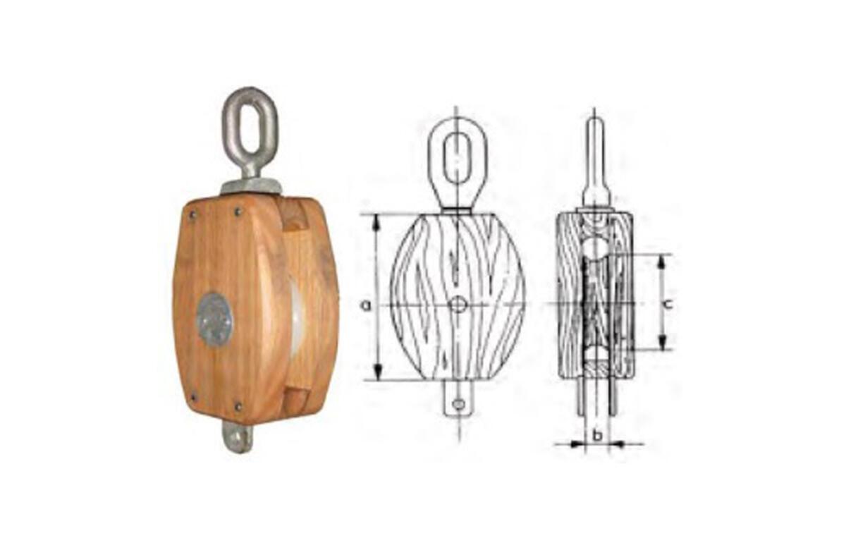 Polea de madera con ojo giratorio-2